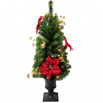Home Accents Holiday 3.5 ft. Pre-Lit Glittered Poinsettia Potted Artificial Christmas Tree with 35 Clear Lights
