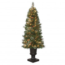 Home Accents Holiday 4.5 ft. Pre-Lit LED Alexander Pine Potted Artificial Christmas Tree with 263 Tips and 150 Warm White Lights