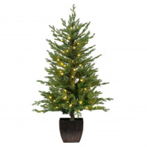 Home Accents Holiday 4 ft. Pre-Lit Warm White LED Potted Artificial Christmas Tree (Set of 2)