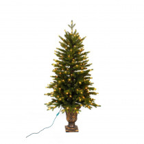 Home Accents Holiday 4 ft. Pre-Lit LED Aspen Fir Potted Artificial Christmas Tree with Warm White Micro Dot Lights
