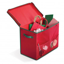 HOMZ 14 in. Red Holiday Gift Bag Storage Box with 2 Mesh Front Pockets
