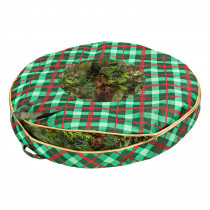 Honey-Can-Do Red and Green Plaid Artificial Storage Bag for Wreaths up to 36 in. Wide