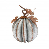 13.18 in. Silver Metal Pumpkin with Leaves