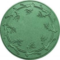 Bungalow Flooring Aqua Shield Light Green 35 in. Round Reindeer Run Under the Tree Mat