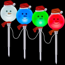LightShow Snowman Pathway Stake (Set of 4)