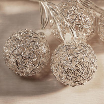 Lumabase 20- Light 16 ft. Silver Balls Solar String Lights
