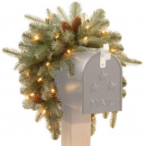 Martha Stewart Living 3 ft. Battery Operated Feel-Real Alaskan Spruce Artificial Mailbox Swag with Pinecones and 35 Clear LED Lights
