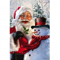 Meadow Creek 2-1/2 ft. x 3-2/3 ft. Santa and Frosty Sublimated House Flag