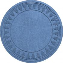 Bungalow Flooring Aqua Shield Medium Blue 35 in. Round Pine Trees Under the Tree Mat
