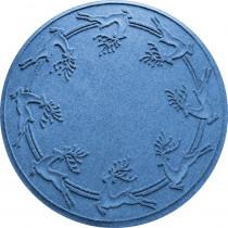 Bungalow Flooring Aqua Shield Medium Blue 35 in. Round Reindeer Run Under the Tree Mat