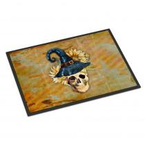 Caroline's Treasures 18 in. x 27 in. Indoor/Outdoor Day of The Dead Witch Skull Door Mat