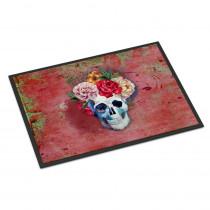 Caroline's Treasures 24 in. x 36 in. Indoor/Outdoor Day of The Dead Red Flowers Skull Door Mat