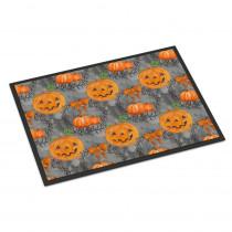 Caroline's Treasures 24 in. x 36 in. Indoor/Outdoor Watecolor Halloween Pumpkins Door Mat