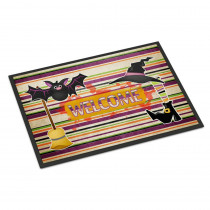 Caroline's Treasures 24 in. x 36 in. Indoor/Outdoor Witch Costume and Broom On Stripes Halloween Door Mat