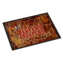 Caroline's Treasures 18 in. x 27 in. Indoor/Outdoor Jeepers Creepers with Bat and Spider Web Halloween Door Mat