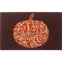 Entryways Scrolled Pumpkin 17 in. x 28 in. Non-Slip Coir Door Mat