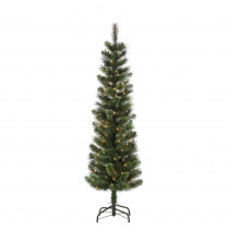 6.5 ft. Hard Mixed Needle Cashmere Pencil Artificial Christmas Tree with 150 Clear Lights