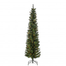 7.5 ft. Hard Mixed Needle Cashmere Pencil Artificial Christmas Tree with 200 Clear Lights