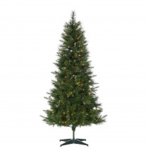 6 ft. Hard Mixed Needle Saratoga Pine Artificial Christmas Tree with 200 Clear Lights
