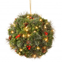 National Tree Company 12 in. Crestwood Spruce Kissing Ball with Battery Operated Warm White LED Lights