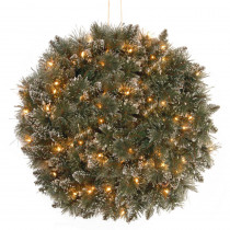 National Tree Company 16 in. Glittery Bristle Pine Kissing Ball with Battery Operated Warm White LED Lights