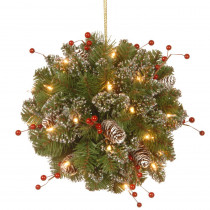 National Tree Company 12 in. Glittery Mountain Spruce Kissing Ball with Battery Operated Warm White LED Lights