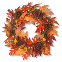 National Tree Company 24 in. Maple Wreath with Clear Lights