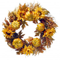 National Tree Company 30 in. Wreath with Pumpkins and Sunflowers