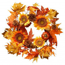 National Tree Company Harvest Accessories 22 in. Sunflower Artificial Wreath with Pumpkin