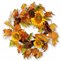 National Tree Company 24 in. Maple Leaf and Sunflower Wreath