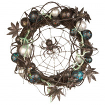 National Tree Company 18 in. Halloween Wreath with Ornaments and Black Spider in the Center