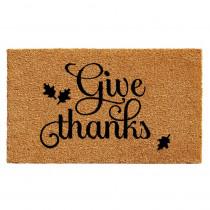 Home & More Give Thanks 17 in. x 29 in. Coir Door Mat