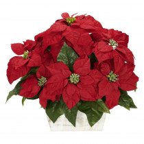 Nearly Natural 16.5 in. H Red Poinsettia with White Wash Planter Silk Arrangement