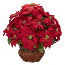 Nearly Natural 22.0 in. H Red Poinsettia with Decorative Planter Silk Arrangement