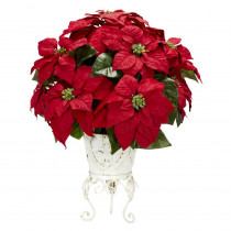 Nearly Natural 21.0 in. H Red Poinsettia with Metal Planter Silk Flower Arrangement