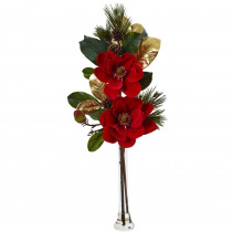 Nearly Natural 34 in. Holiday Magnolia Arrangement
