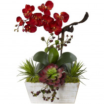 Nearly Natural 21 in. Seasonal Orchid and Succulent Garden with White Wash Planter