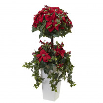 Nearly Natural 4 ft. Poinsettia Berry Topiary with Decorative Planter