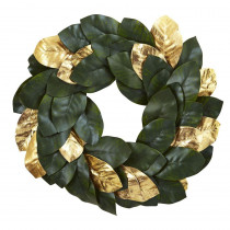Nearly Natural 22 in. Golden Leaf Magnolia Artificial Wreath