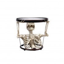 17.7 in. Halloween Oval Glass Table with Half Upper Skeleton Torso Base