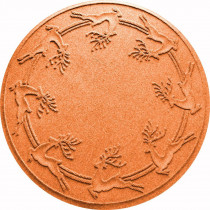Bungalow Flooring Aqua Shield Orange 35 in. Round Reindeer Run Under the Tree Mat