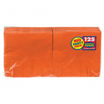 Amscan Big Party Pack 6.5 in. x 6.5 in. Orange Paper Birthday Lunch Napkin (125-Count, 4-Pack)
