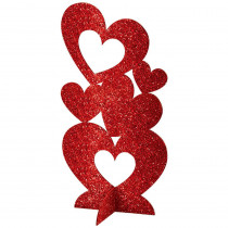 Amscan 11.5 in. Valentine's Day Red MDF Glitter Hearts 3D Centerpiece (4-Pack)