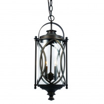 Bel Air Lighting 2 Light Rubbed Oil Bronze Outdoor Crossover Hanging Lantern