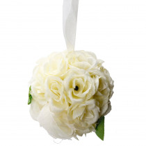 4.7 in. Ivory Cream Rose Ball Wedding Flower Decoration (Ball Flower)