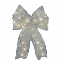 Starlite Creations 9 in. 36-Light Battery Operated LED White Everyday Bow