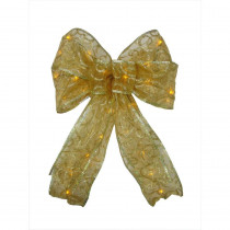 Starlite Creations 9 in. 36-Light Battery Operated LED Gold Everyday Bow