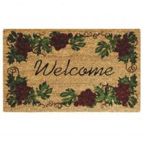 Nedia Home Grape Welcome 18 in. x 30 in. SuperScraper Vinyl/Coir Door Mat