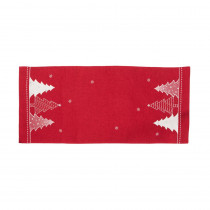 Xia Home Fashions 0.1 in. H x 16 in. W x 36 in. D Lovely Christmas Tree Embroidered Double Layer Table Runner in Red