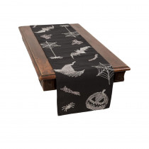 Xia Home Fashions 0.1 in. H x 15 in. W x 70 in. D Happy Halloween Double Layer Table Runner in Black